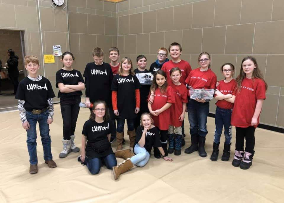 On Saturday January 11, 2020, our two new First Lego League teams traveled to Minot to compete with a total of 21 teams at the Minot Regional Qualifier for the state of North Dakota.  While competing each team gave a presentation on an innovative solution to a real world problem. The Ultra-A team spoke about adding an awning to the bleachers on the football field which would protect fans from wind, rain and snow during outside sporting events. The Lego my Eggo team presented on painting games on the outside basketball cement so that students who do not have the proper outside gear will have something to do.  In addition to the presentation for the judges the teams competed with their robots for points on the playing field. Lego my Eggo scored 225 points and took 3rd place while Ultra-A scored 205 and took 5th place.   Congratulations on an amazing first year! We are very proud of both teams and the teamwork, effort, and gracious professionalism they displayed while in Minot.